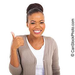 femme affaires, africaine, pouce, geste, haut