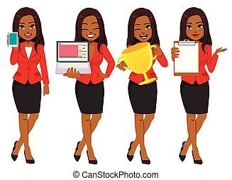 femme affaires, américain, ensemble, collection, africaine