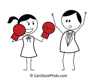 femme affaires, boxeur, combat
