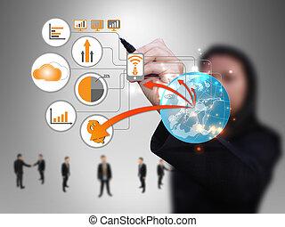femme affaires, conception, technologie, réseau
