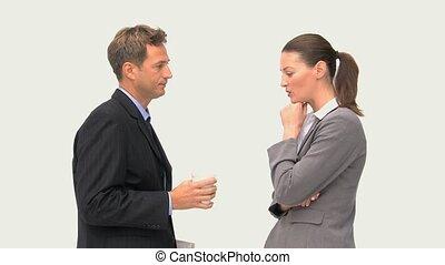 femme affaires, conversation, homme affaires