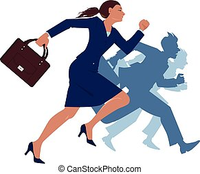 femme affaires, courant, esprit, concourir