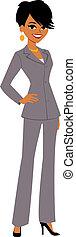 femme affaires, dessin animé, joli, avatar