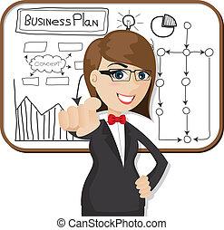 femme affaires, dessin animé, plan affaires