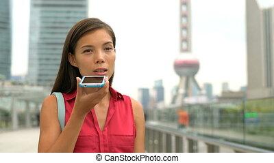 femme affaires, district, pudong, financier, porcelaine, téléphone, conversation, shanghai