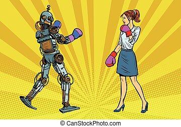 femme affaires, femme, boxe, robot