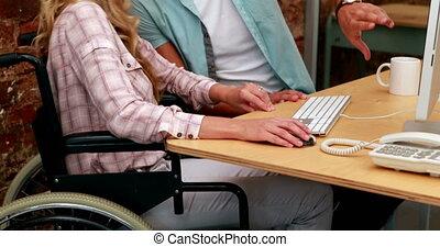 femme affaires, fonctionnement, fauteuil roulant