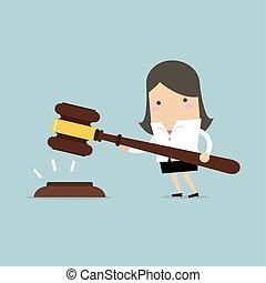 femme affaires, grand, justice., mains, marteau, prise