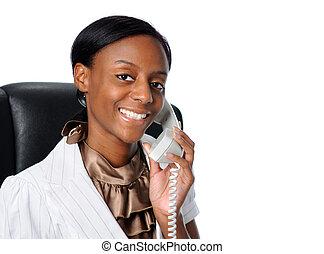 femme affaires, jeune, téléphone