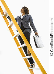 femme affaires, ladder., escalade