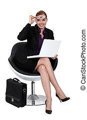 femme affaires, moderne, chair., séance