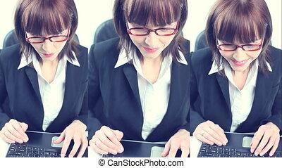 femme affaires, ordinateur portable