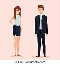 femme affaires, professionnel, cadre, homme affaires, élégant