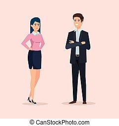 femme affaires, professionnel, cadre, reussite, homme affaires