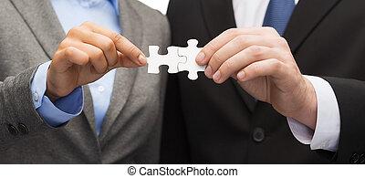 femme affaires, puzzle, homme affaires, morceaux