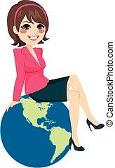 femme affaires, séance, globe