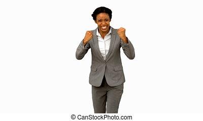 femme affaires, séduisant, faire gestes