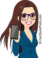 femme affaires, smartphone, afficher, vertical