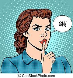 femme affaires, sommet, concept, top secret, silence