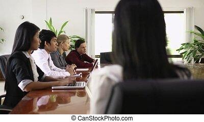 femme affaires, sourire, travail, asiatique