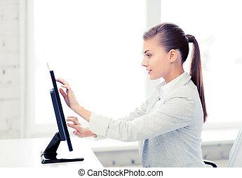femme affaires, touchscreen, sourire, bureau