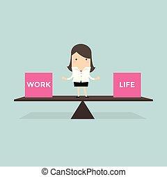 femme affaires, travail, équilibre, life.