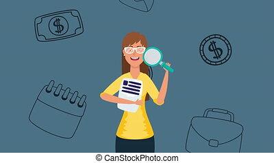 femme affaires, verre, documents, magnifier, jeune