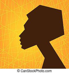femme, africaine, figure, silhouette