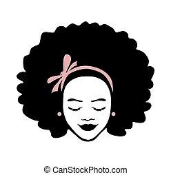 femme, africaine, vecteur, américain, cheveux roses, noir, illustration, bouclé, beau visage, silhouette, dessin, arc, background.logo., isolé, ruban blanc, dame, girl, tête