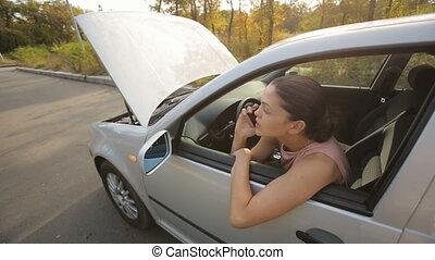 femme, aide, voiture, appeler, bas, cassé