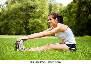 femme allonger, -, sport plein air, exercice