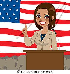 femme, américain, politicien, africaine, drapeau