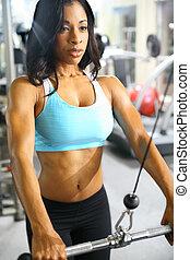 femme américaine, africaine, fitness