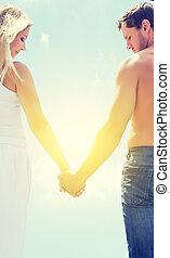 femme, amour, couple, ciel, tenant mains, homme