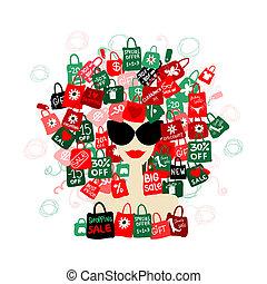 femme, amour, mode, sale!, achats, ton, portrait, conception, concept