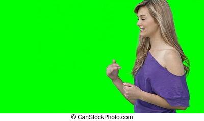 femme, appareil photo, bavarder