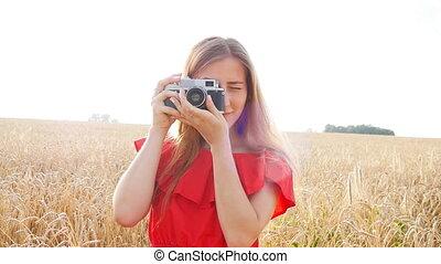 femme, appareil photo, retro