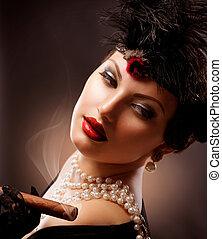 femme, appelé, girl, retro, portrait., cigare, vendange