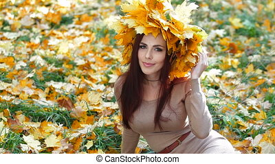 femme, apprécier, automne