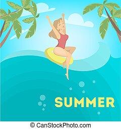 femme, apprécier, summer.
