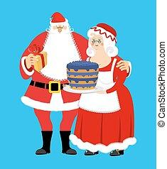 femme, apron., isolated., family., menage., claus, mrs., noël, gai, santa, année, nouveau, robe blanche, elderly., rouges