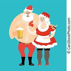 femme, apron., mauvais, ivre, isolated., family., menage., claus, grande tasse, mrs., elderly., gai, cigarette, bière, santa, année, nouveau, robe blanche, noël, rouges