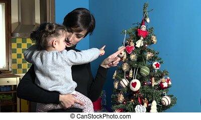femme, arbre, noël, maman, enfant, noël