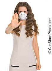 femme, arrêt, projection, masque, jeune, cône, geste