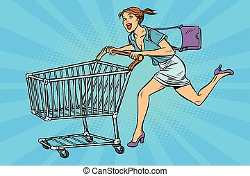 femme, art, charrette, courant, pop, achats