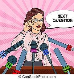femme, art, donner, média, pop, confiant, vecteur, masse, illustration, interview., presse, conference.