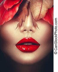 femme, art, maquillage, automne, fall., mode, portrait.