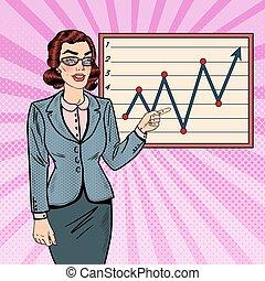 femme, art, presentation., business, projection, graph., pop, vecteur, croissance, illustration