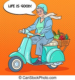 femme, art, vegetables., scooter, biker., pop, vecteur, illustration, panier, équitation, personne agee, dame, heureux