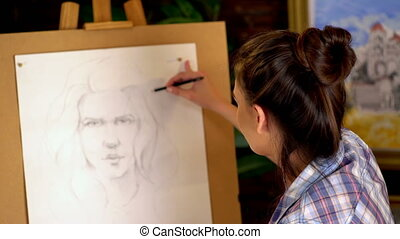 femme, artiste, peintures, 4k, portrait, girl, pencil.